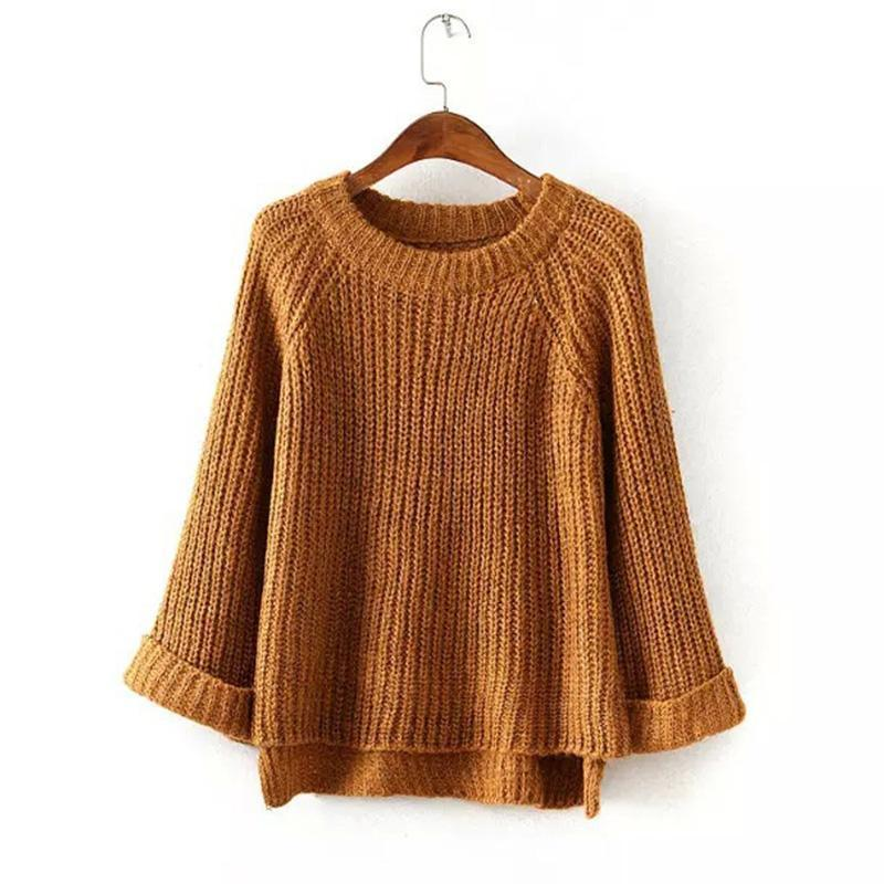 Loose Round Neck Long Flare Sleeve Sweaters