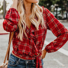 Load image into Gallery viewer, Long Sleeve Ruffle Lace Up Plaid Shirts
