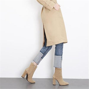 Fashion Elegant Business Plain Lace-Up Suede Upper Mules Boots