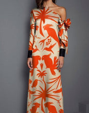 Load image into Gallery viewer, Sexy Shoulder Print Long Sleeved Maxi Dress