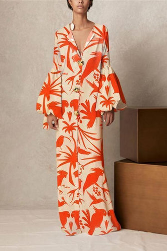 V Collar Long-Sleeved Printing Loose Casual Maxi Vacation Dress