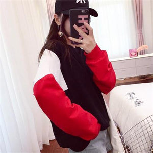 Fashion Loose Color Blocking Floss Hoodie