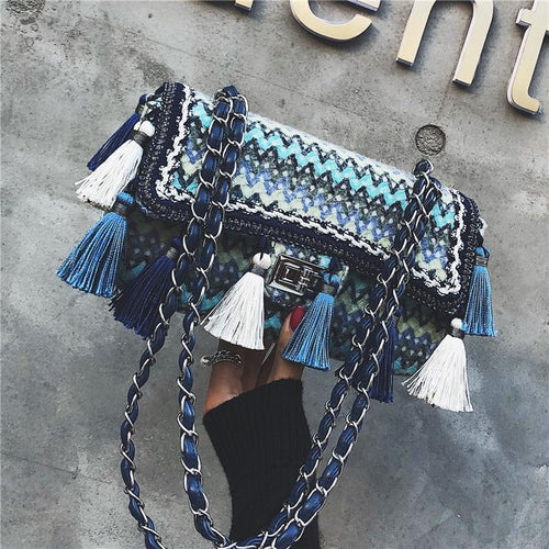 Chic Retro Plaid Rectangle Plaid Fringe Front Chain One Shoulder Bag