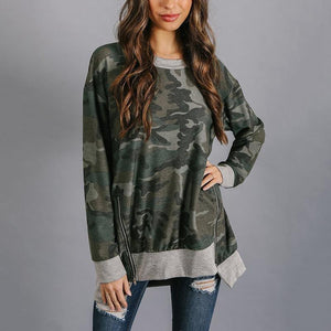 Camouflage Printed Round Neck Long Sleeve Hem Irregular Top