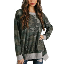 Load image into Gallery viewer, Camouflage Printed Round Neck Long Sleeve Hem Irregular Top