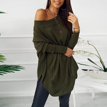 Load image into Gallery viewer, Loose Long Sleeve Sexy Off Shoulder Patchwork Casual Dress
