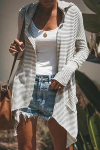 Striped Printed Hooded Long Sleeve Cardigan