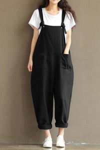 Casual Nifty Loose Plain Sleeve Braces Jumpsuit