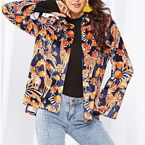 Vacation Casual Loose Floral Button V Collar Long Sleeve Blouse