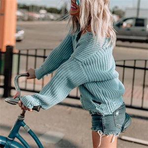Sweet Casual Chic Loose Plain Deep V Collar Long Sleeve Sweater