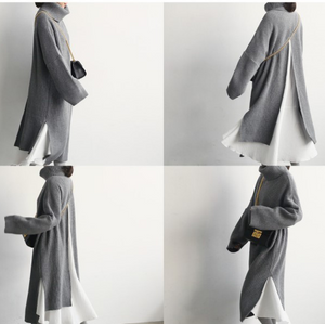 Fashion High Collar Plain Slit Sweater Maxi Dress