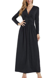 Elegant Fashion Slim Plain Deep V Collar Long Sleeve Maxi Dress