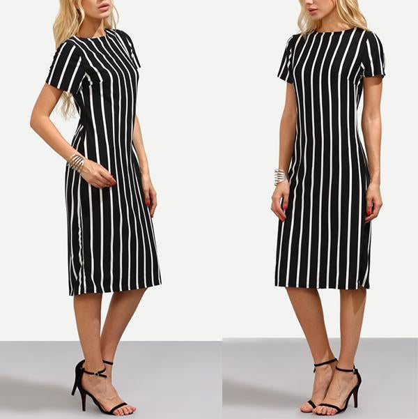 Fashion Stripe Printed Short Sleeve Bodycon Dress