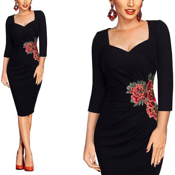 Elegant Three Quarter Sleeve Floral Embroidery Bodycon Dress
