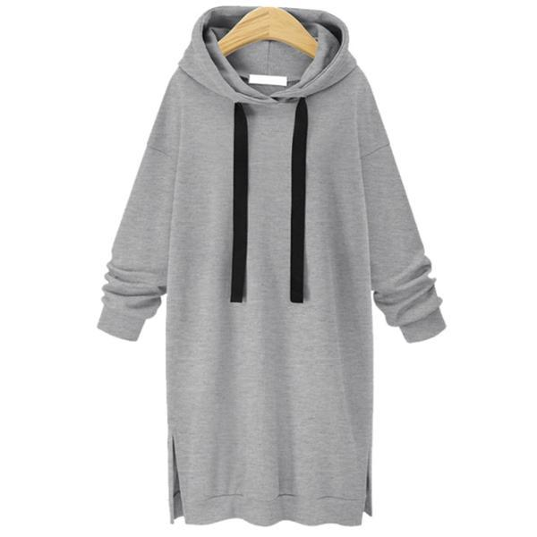 Casual Fashion Youth Loose Plain Long Sleeve Long Hoodie Top