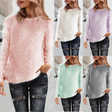 Load image into Gallery viewer, Fur Knitted Pullover Women Long Sleeve Shirts