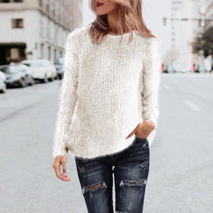 Fur Knitted Pullover Women Long Sleeve Shirts