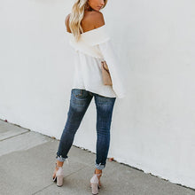 Load image into Gallery viewer, Elastic Off Shoulder Long Flare Sleeve Plain Pleated Loose T-Shirts