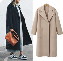 Load image into Gallery viewer, Fashion Lapel Collar Plain Woolen Long Coat