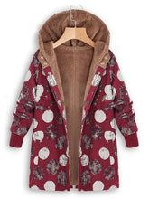 Load image into Gallery viewer, Long Sleeved Dark Hooded Plush Retro Print Coat