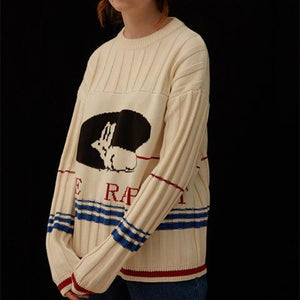 Lovely Round Collar Rabbit Printed Knit Sweater