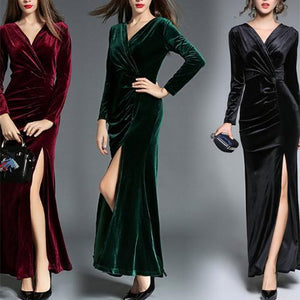 Elegant V Collar Plain Slit Slim  Maxi Dress