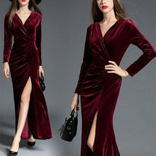 Load image into Gallery viewer, Elegant V Collar Plain Slit Slim  Maxi Dress