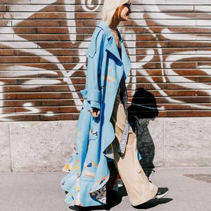 Turndown Collar   Printed Colour Long Sleeve Ruffled Coat