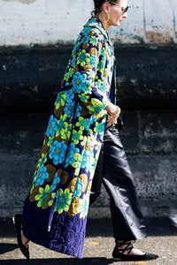 Vintage Ethnic Print Long Coat