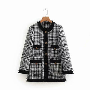 Chic Casual Round Collar Long Sleeves Color Block Plaid Woolen Coat