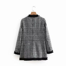 Load image into Gallery viewer, Chic Casual Round Collar Long Sleeves Color Block Plaid Woolen Coat