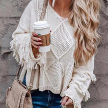 Load image into Gallery viewer, Casual Fashion Round Collar Tassels Long Sleeves Knitting Shirt