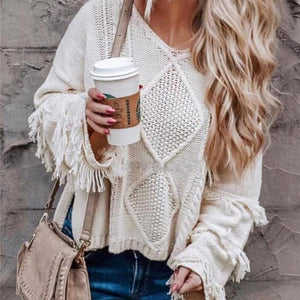 Casual Fashion Round Collar Tassels Long Sleeves Knitting Shirt