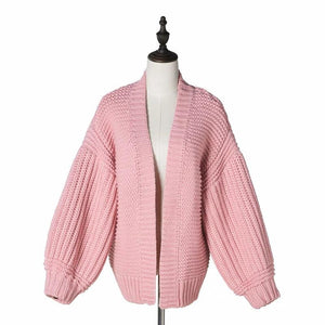 Casual Loose Plain Hollow Knit Sweater Cardigan