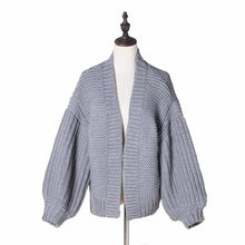Load image into Gallery viewer, Casual Loose Plain Hollow Knit Sweater Cardigan