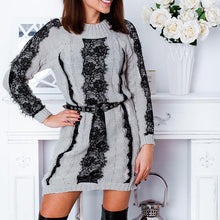 Load image into Gallery viewer, Casual Round Collar Color Block Jacquard Weave Knitting Dress