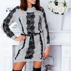 Casual Round Collar Color Block Jacquard Weave Knitting Dress