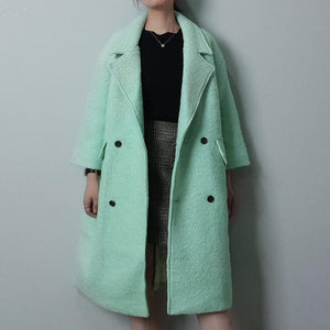 Winter Lapel Collar Plain Loose Long Coat