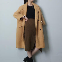Load image into Gallery viewer, Winter Lapel Collar Plain Loose Long Coat