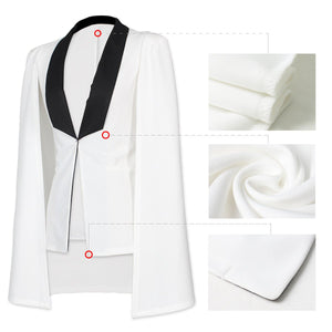 Chic Color Block Lapel Sleeveless Cloak Coat