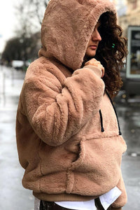 Hooded  Kangaroo Pocket  Plain Outerwear