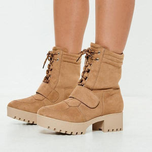 Fashion Casual Wild Style Middle Height Heel Boots