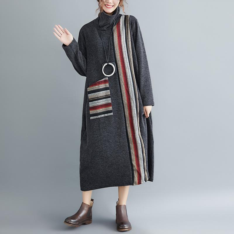 Elegant Fashion High Collar Long Sleeves Loosen Oversize Stripe Casual Dress