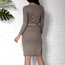Load image into Gallery viewer, Fashion V Collar Plain Slim Slit Bodycon Dress With Waistband