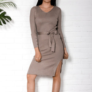Fashion V Collar Plain Slim Slit Bodycon Dress With Waistband