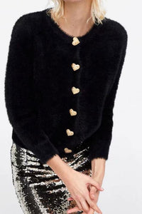 Winter Plain Heart-Shaped  Button Round Collar Fluffy Coat