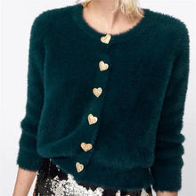 Load image into Gallery viewer, Winter Plain Heart-Shaped  Button Round Collar Fluffy Coat