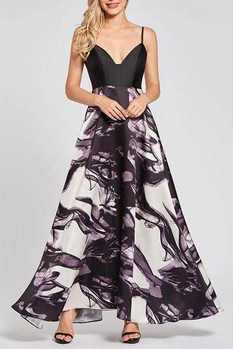 Sexy Deep V Collar Split Joint Floral Printed Evening Dress