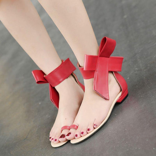Sandals New Peep Toe Big Bow Flat Shoes