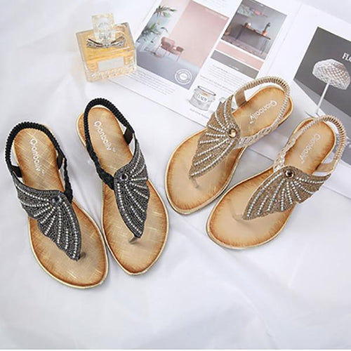 Fashion Rhinestone Large Size Flat Sandals